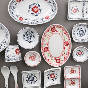 KDS 돌산 민들레 (청,홍,신) 모음 업소용 멜라민 그릇 접시 대접