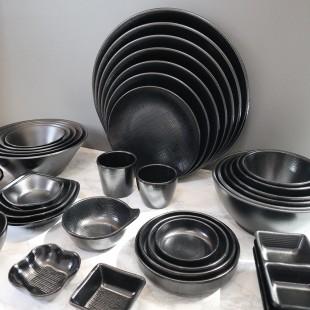 KDS돌산 체크 (흑) 시리즈 업소용 검정 멜라민 그릇 접시 탕기
