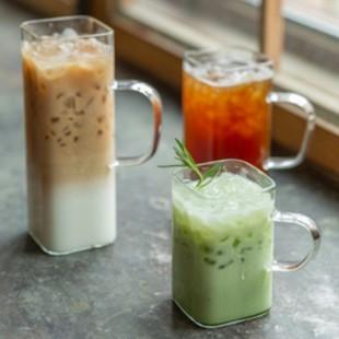 내열 유리 머그컵 손잡이 사각머그 카페 커피 라떼잔