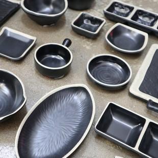 KDS 돌산 앤틱블랙 시리즈 모음 업소용 멜라민 식당 접시 그릇