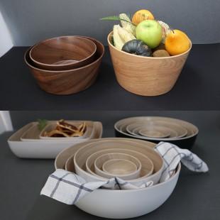 멜라민 우드볼 모음 플라스틱 나무 무늬 그릇 카페 베이커리
