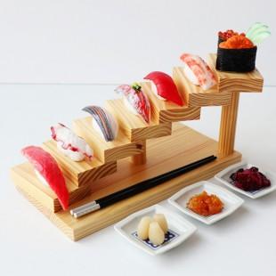 회전 디스플레이 나무계단식 우드 스시도마 초밥도마